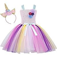 AmzBarley Costume da Principessa in Tulle con Bambine e Unicorno per la Festa di Compleanno