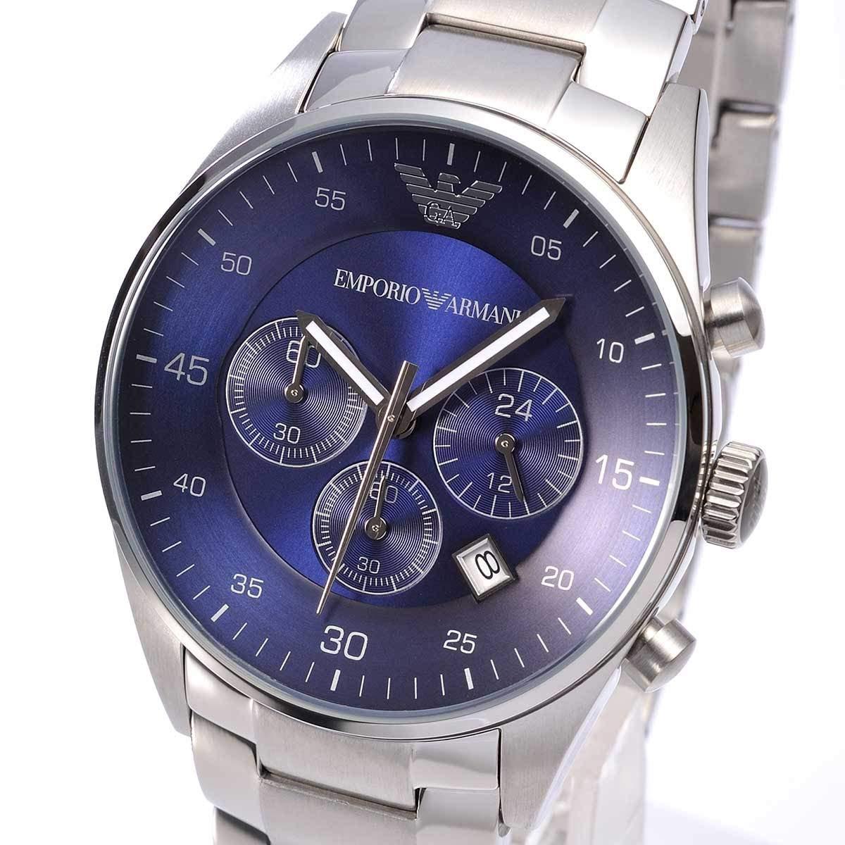 Emporio Armani pour Homme chronographe Cadran Bleu Acier Inoxydable: Emporio Armani: Amazon.fr: Montres