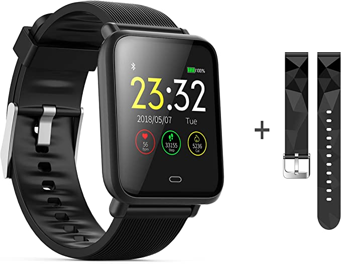 Bluetooth Smart Watches, KKCITE Waterproof Fitness Tracker Smart Watch with Heart Rate/Blood/Pressure/Sleep Monitor Compatible with ...