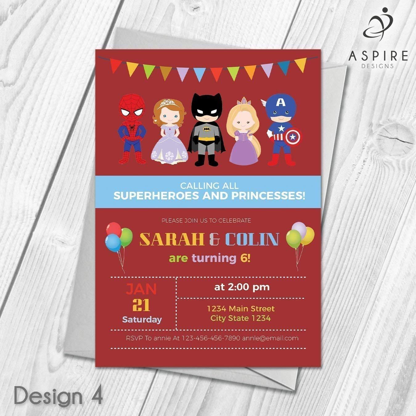 PERSONALISED PRINCESS SUPER HERO JOINT BIRTHDAY PARTY INVITATIONS KIDS INVITES