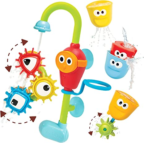 Yookidoo Bath Toys (For Toddlers 1-3) - Spin N Sort Spout Pro - 3 Stackable Cups, Hose and Spout, Spinning Suction Cups For Kids Bathtime Fun