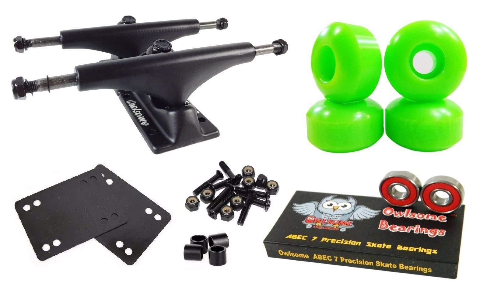Green 5.0 Black Skateboard Trucks + 52Mm Wheels + ABEC 7 Bearings Combo