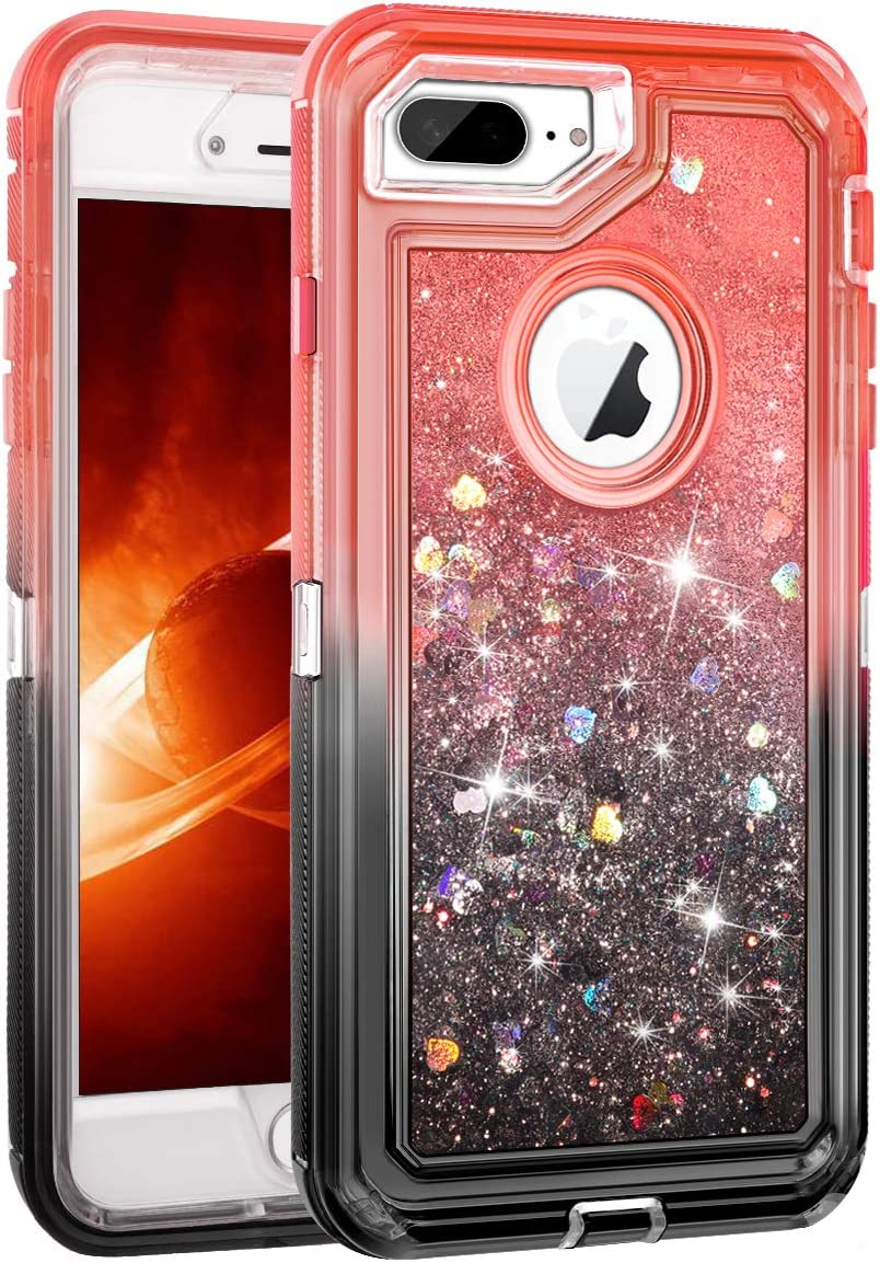 WESADN Case for iPhone 8 Plus Case,iPhone 7 Plus Case for Girls Women Cute Glitter Liquid Protective Bling Heavy Duty Shockproof Gradient Cover for iPhone 8 Plus 7 Plus 6 Plus 6s Plus,Red Black