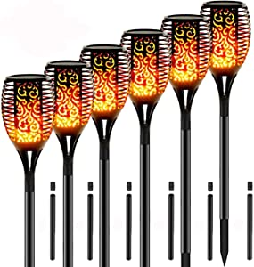 """Solar Lights Outdoor Upgraded 43""""(6 Pack) 96 LED Waterproof Flickering Flames Torch Lights Outdoor Solar Spotlights Landscape Decoration Lighting Dusk to Dawn Auto On/Off Security Torch Light"""