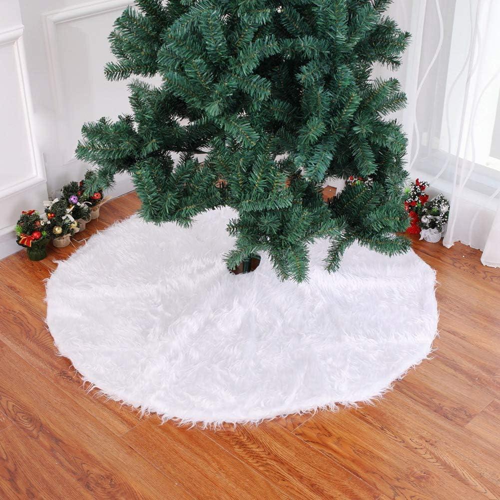 Ssowun Falda del árbol Navidad decoración árbol Falda Blanca Pura ...