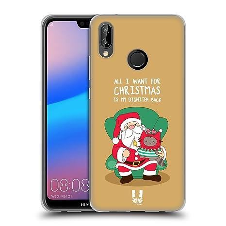 sneakers for cheap 5a811 cd6e2 Head Case Designs Christmas Wish Wilbur Il Gatto Natale all Star Cover  Morbida in Gel per Huawei P20 Lite