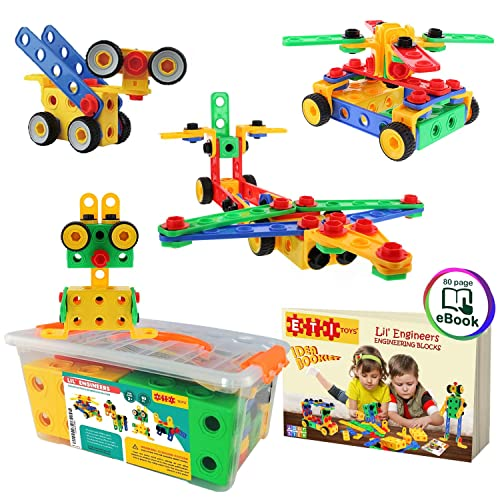 eti toys stem learning original 101 piece educational construction engineering building blocks set for 3