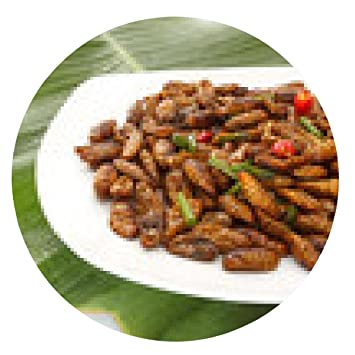 alfombrilla de ratón insectos comestibles fritos en la placa blanca y hoja verde - ronda -