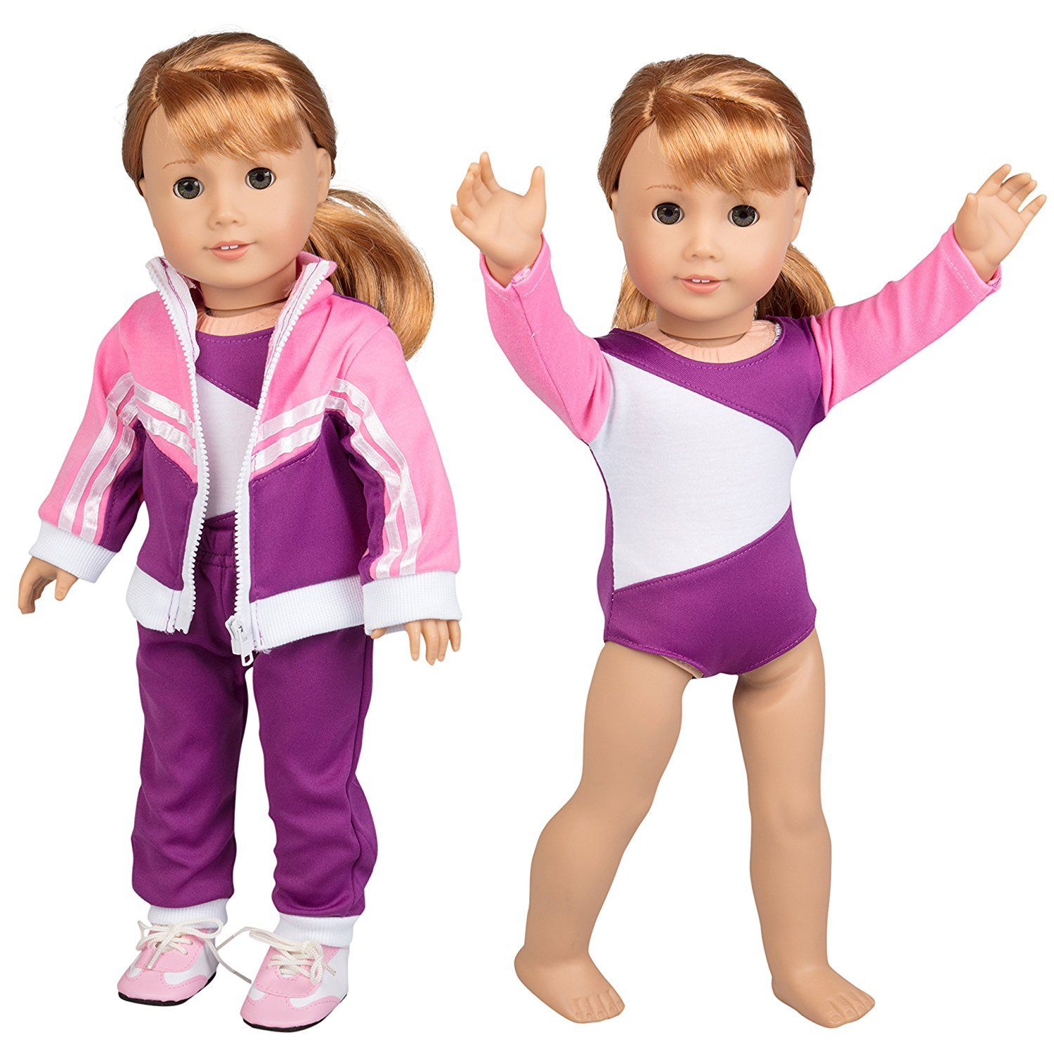 Doll Clothes for American Girl Dolls: 4 Piece Gymnastics Star Outfit - Dress Along Dolly (Includes Performance Leotard, Warmup Pants, Pullover, and Sneakers) Ride Along Dolly
