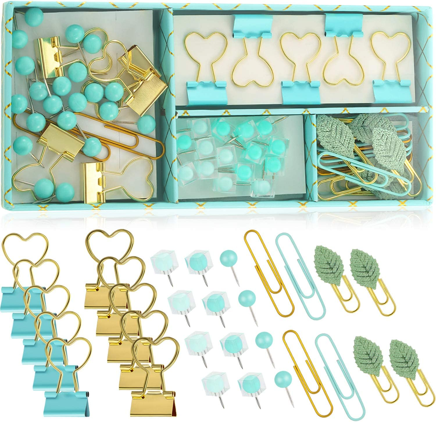 62 Pieces Heart-Shaped Blue Gold Binder, Square Bead Head Map Pushpin Pin Cute Leaf Paper Clip for Books Photos Cards School Office Supplies