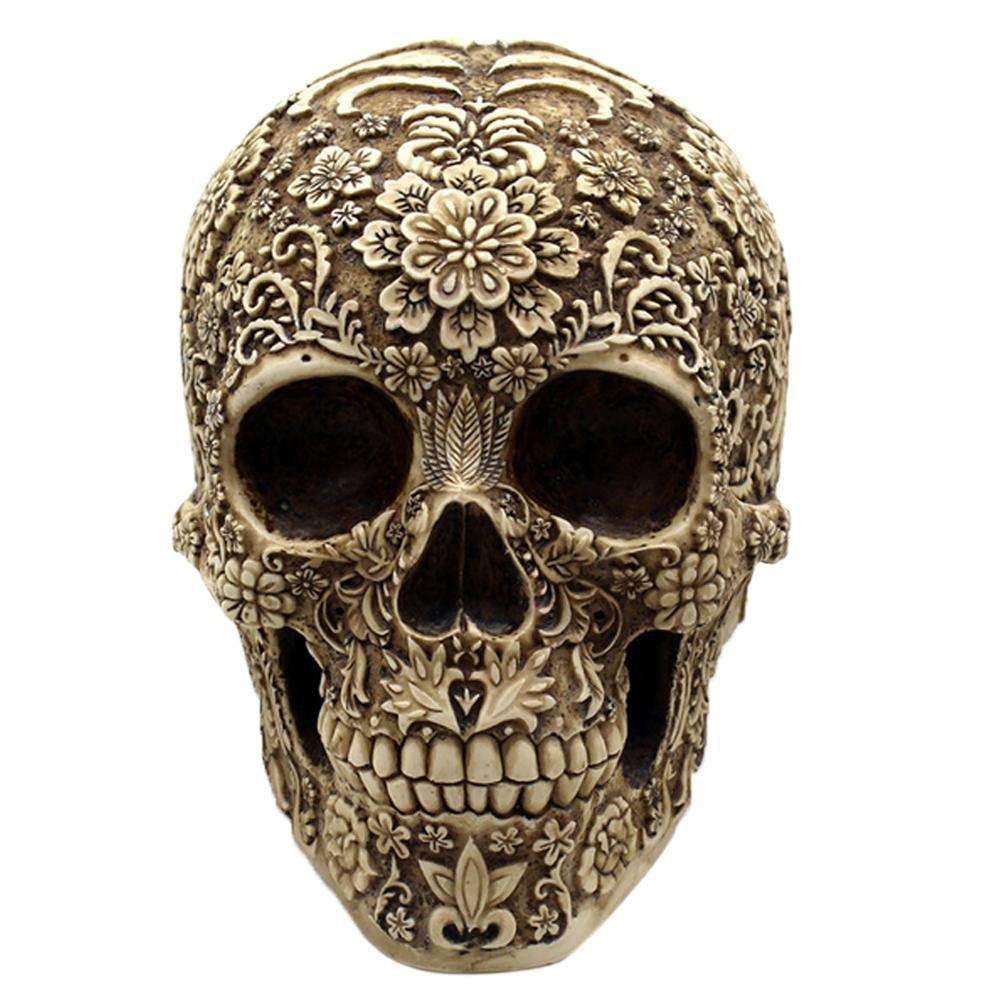 Aolvo resina floreale Skull replica, 3D Skeleton Head figurine vintage Art Decor telefono con design floreale per regali di Halloween Spooky Collection (dorato)