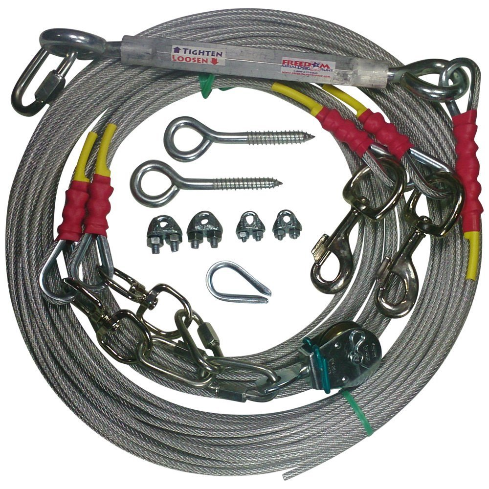 Freedom Aerial Double Dog Trolley Run Cable 2 Dogs FADR-DD500 (Large Dogs, 100 FT)