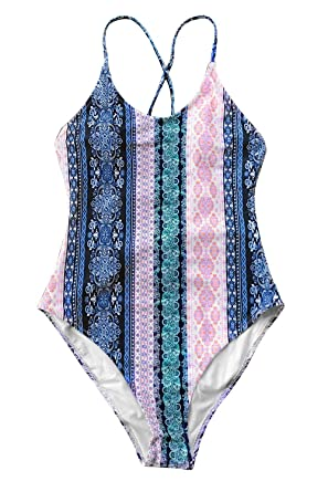 d6d32abd21a CUPSHE Light Up The Night Print One-Piece Swimsuit Beach Swimwear Bathing  Suit (Small