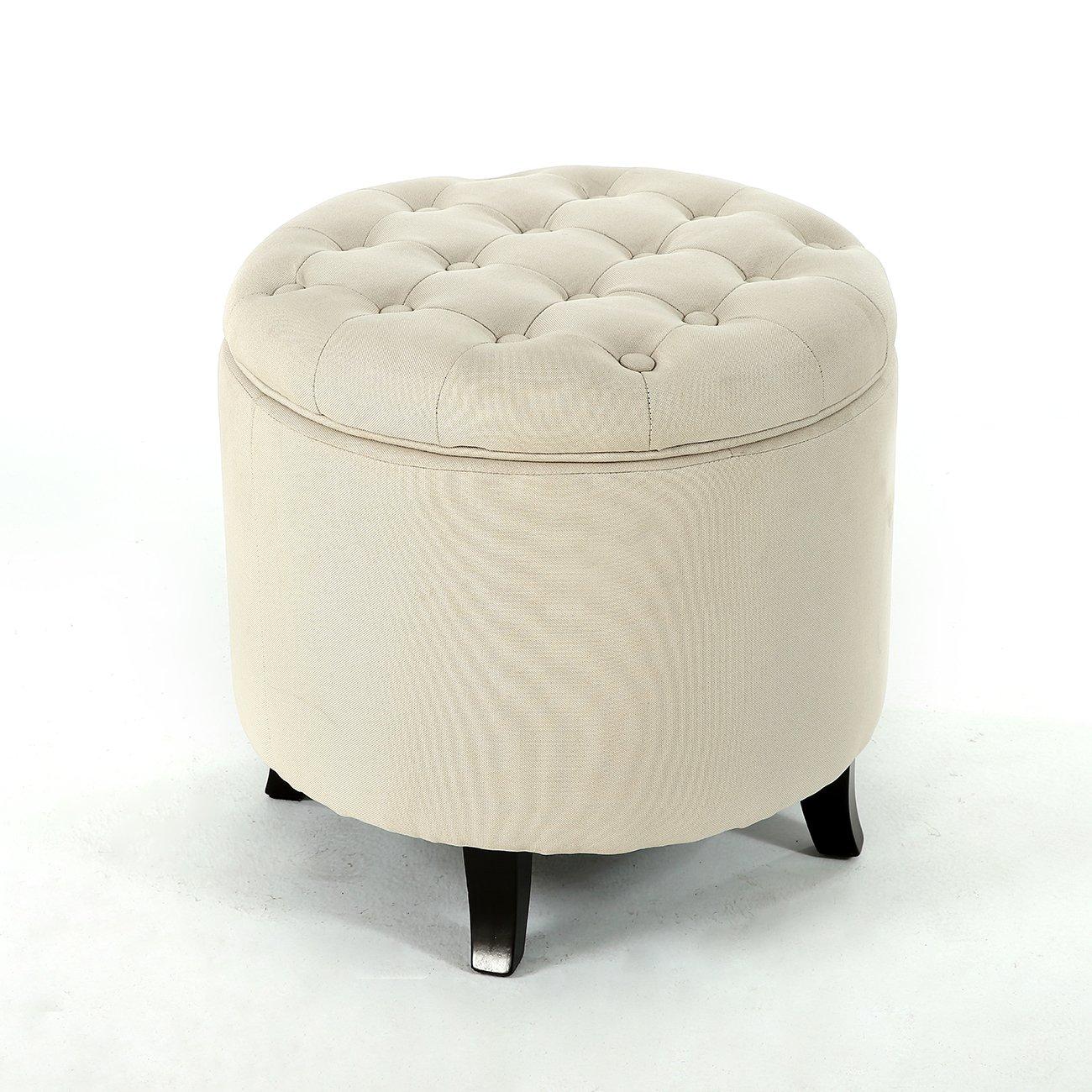 Belleze Modern Button Tufted Accent Storage Ottoman Lift Top Footstool 17-3/4'' Round (Beige)