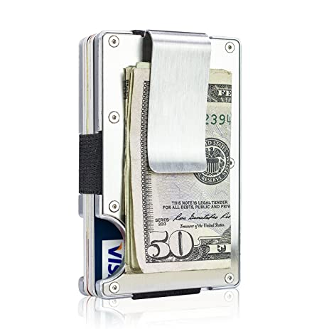 Amazon itall rfid blocking money clip minimalist silver itall rfid blocking money clipminimalist silver business card holder case walletstainless steel colourmoves