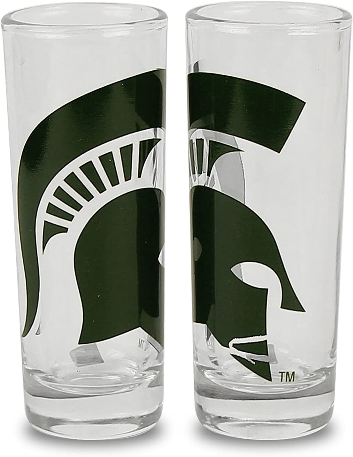 NCAA Color Team Logo 2oz Cordial Shot Glass 2-Pack (Michigan State)
