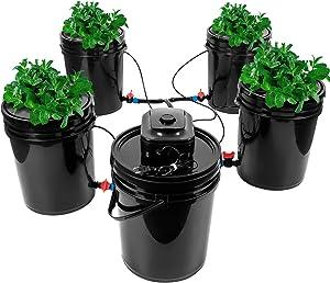 Bavnnro Dwc Hydroponic System,Multi Barrel Hydroponic Machine,Drip Irrigation Hydroponic System(4 Bucket + Reservoir Kit)