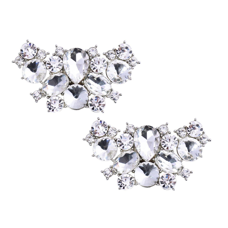ElegantPark BF 2 Pcs Shoe Clips Butterfly Rhinestones Wedding Party Decoration Silver