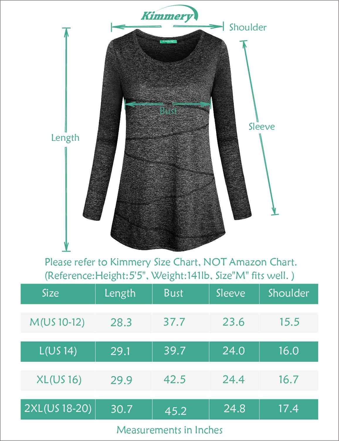 Kimmery Workout Shirts for Women, Ladies Top Round Neck Long Sleeve Heathered Yoga Blouse Moisture Wicking Sun Protection Lightweight Dri Fit Tee Performance Black Medium by Kimmery (Image #5)