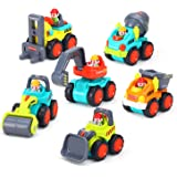 Push and Go Friction Powered Car Toys, Construction Play Vehicles Set of 6 for Toddlers Over 18 Months - Bulldozer, Cement Mixer, Dumper, Forklift, Excavator and Road Roller