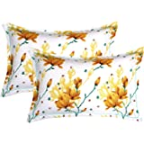 """Trendz Home Furnishing Cotton 2 Piece Cotton Pillow Cover Set - 20""""x30"""", White and Yellow"""