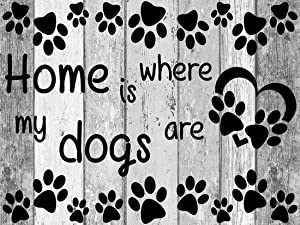 21secret 5D Diamond DIY Painting Full Drill Handmade Home is Where My Dogs are Cross Stitch Footprints Words Decor Embroidery Kit