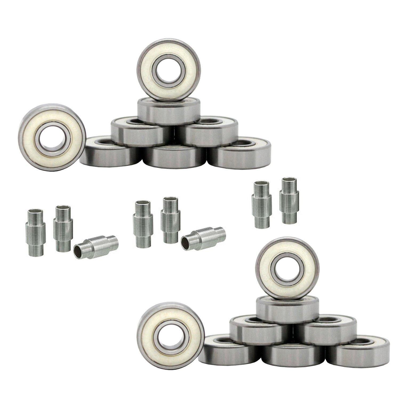 Bullseye Hockey Bearings Abec 9, 7, 5 Inline Roller Speed Package 16 Bearings and 8 Spacers Kit (Abec 9 - White)