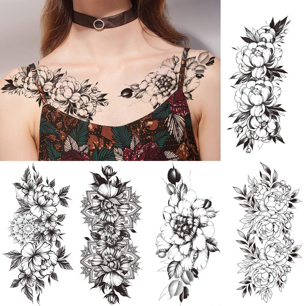 10 Sheets Black Flower Rose Temporary Tattoo, Petal Leaf Sketch Fake Tattoo Sticker for Women Lady Girls, Body Art on Arm Shoulder Wrist Clavicle