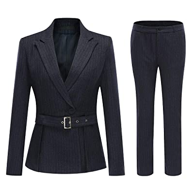 Women's 2 Piece Office Lady Stripes Business Suit Set Slim Fit Blazer Jacket Pant: Clothing