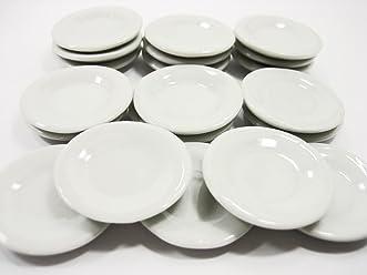 10 White Boat Plate Dish Ceramic Dollhouse Miniature Japanese Food Supply 12679
