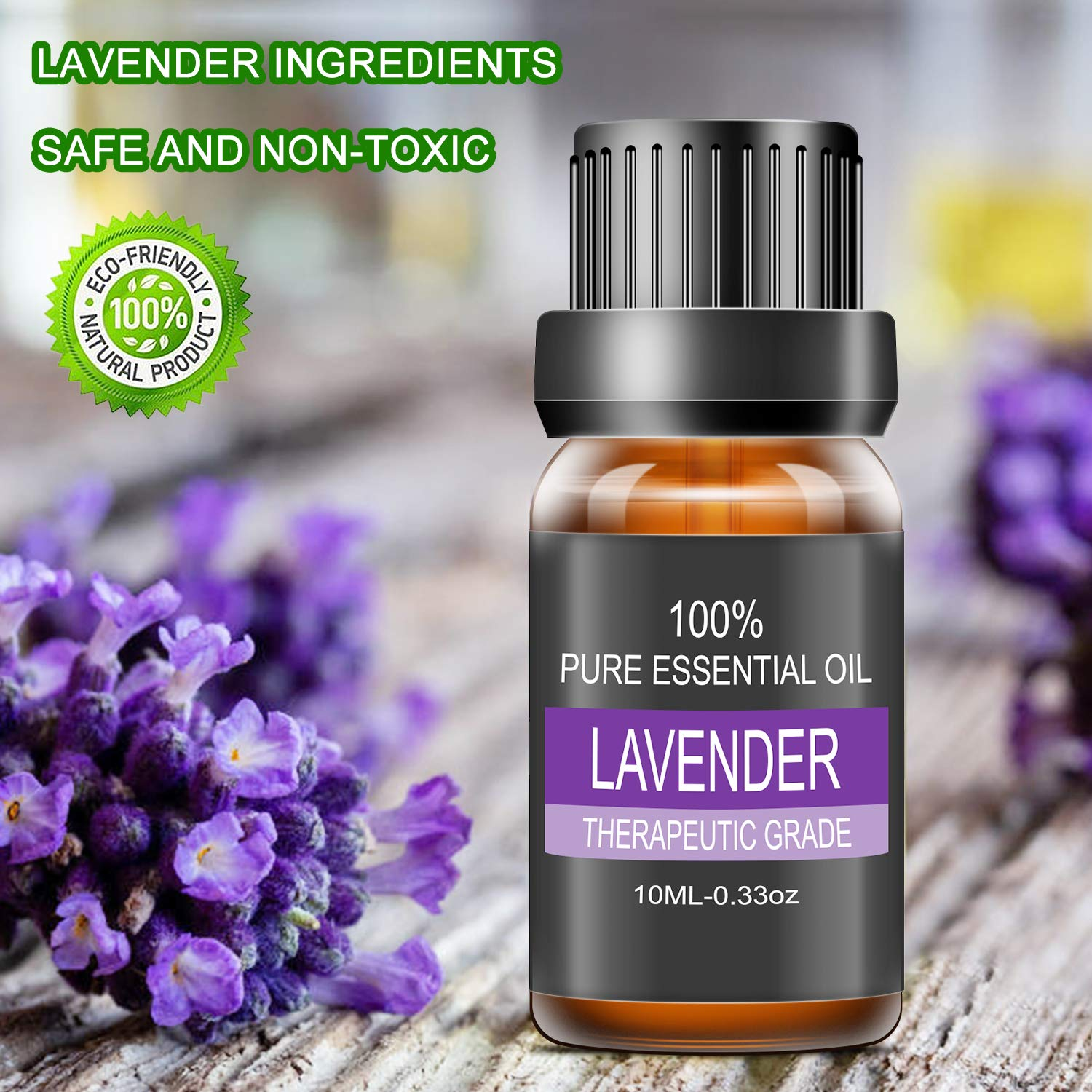LATITOP Lavender Essential Oil, 100% Pure & Natural Aromatherapy Essential Oils for Diffuser, Humidifier, Massage, Aromatherapy (10ml)