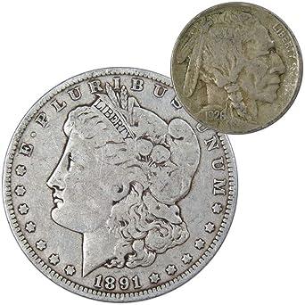1891 O Morgan Silver Dollar VG-Very Good with 1926 Buffalo Nickel