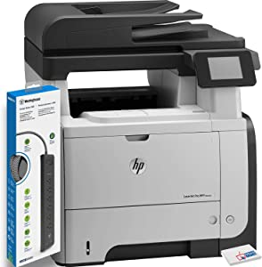 HP Laserjet Pro M521dn All-in-One Printer (A8P79A) with Power Strip Surge Protector and Electronics Basket TM Microfiber Cleaning Cloth