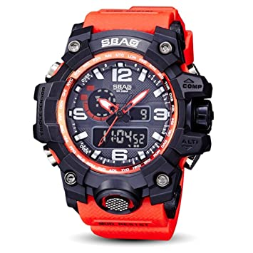 Logobeing Reloj LED Digital Hombre Pulsera Relojes Deportivos Impermeables Electrónica Digital (Rojo)