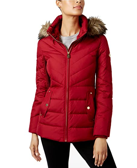 Michael Kors Short Coat Jacket with Fur Hood-Red-XS at Amazon ...