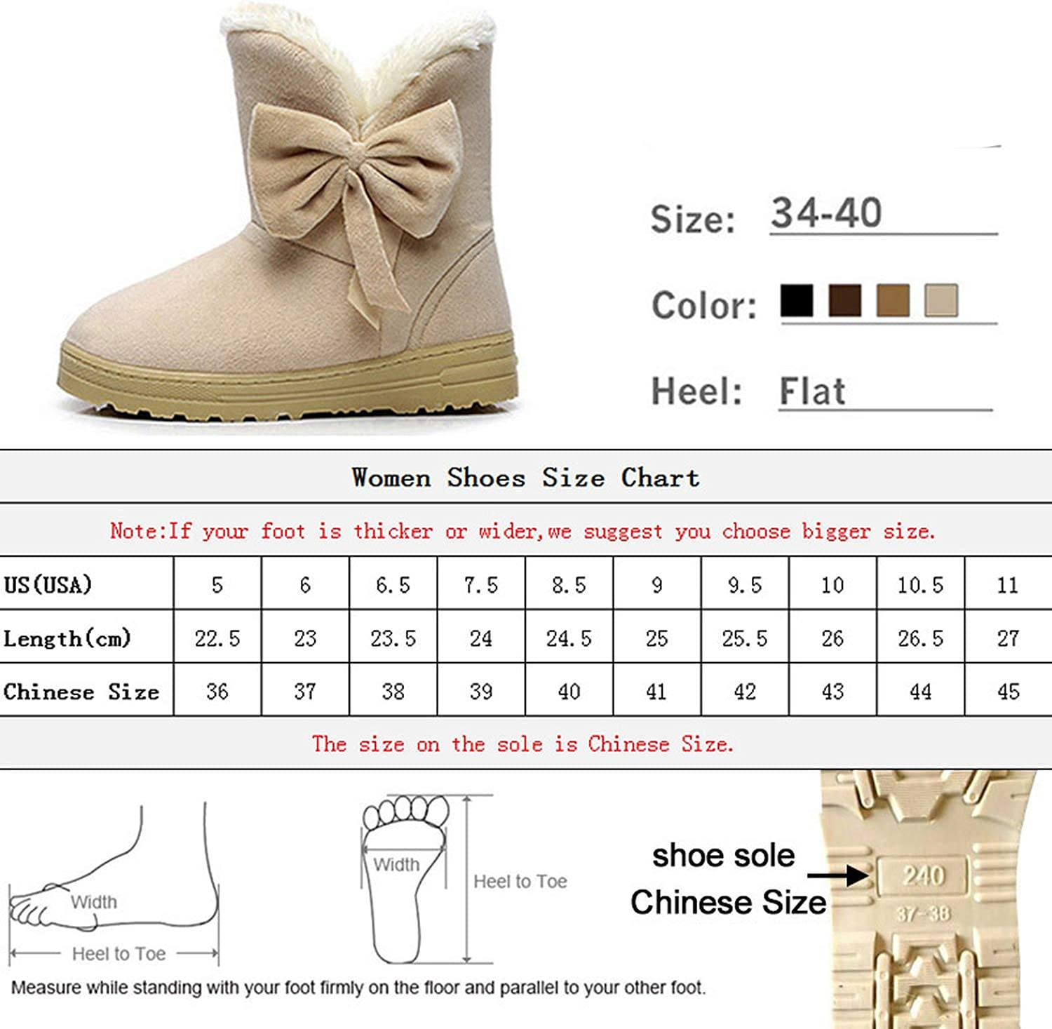 Women Snow Boots Winter Fur Ankle Boot Warmer Plush Suede Rubber Flat,Black,9
