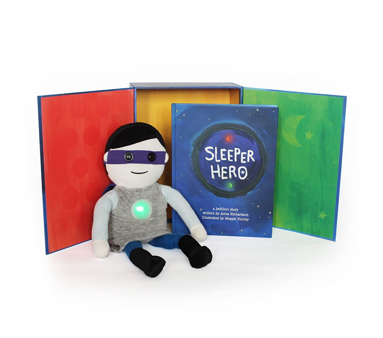 SleeperHero The Superhero Toy Nightlight Clock Plush Doll with Storybook Built in Light Timer to Help Sleep Train Your Child