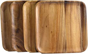 Square Wood Charger / Accent Plate Set, Set of 4 by roro (11 Inch x 4)
