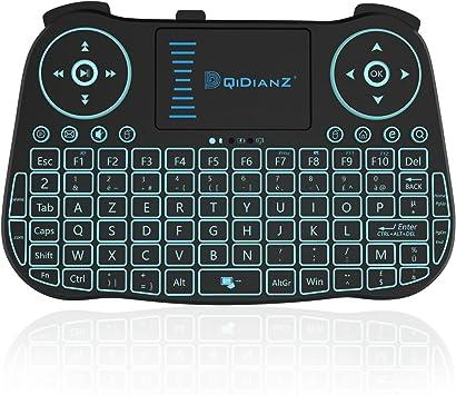 DQiDianZ(AZERTY) Mini Teclado inalámbrico 2,4 G retroiluminado, Touchpad Teclado gamer de ratón inalámbrico para multimedia Android Smart TV Box ...