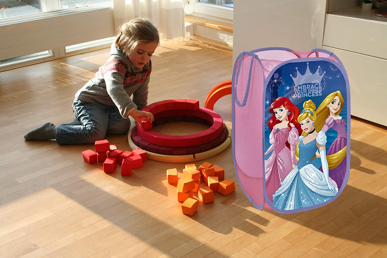 Cuarto de Ni/ños I Contenedor Habitacion Ni/ñas I Cesto Dormitorio Bebe 58x36x36 Cesta Plegable Infantil de Tela con Asas Motivo Princesas Disney I Cubo Organizador Infantil para ropa y juguetes