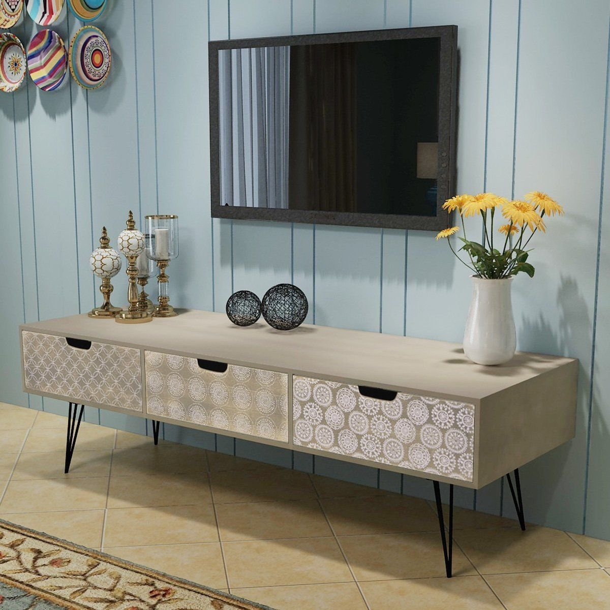 Retro Style TV Cabinet Storage Drawers Sideboard Low Side Console Table Stand, Gray