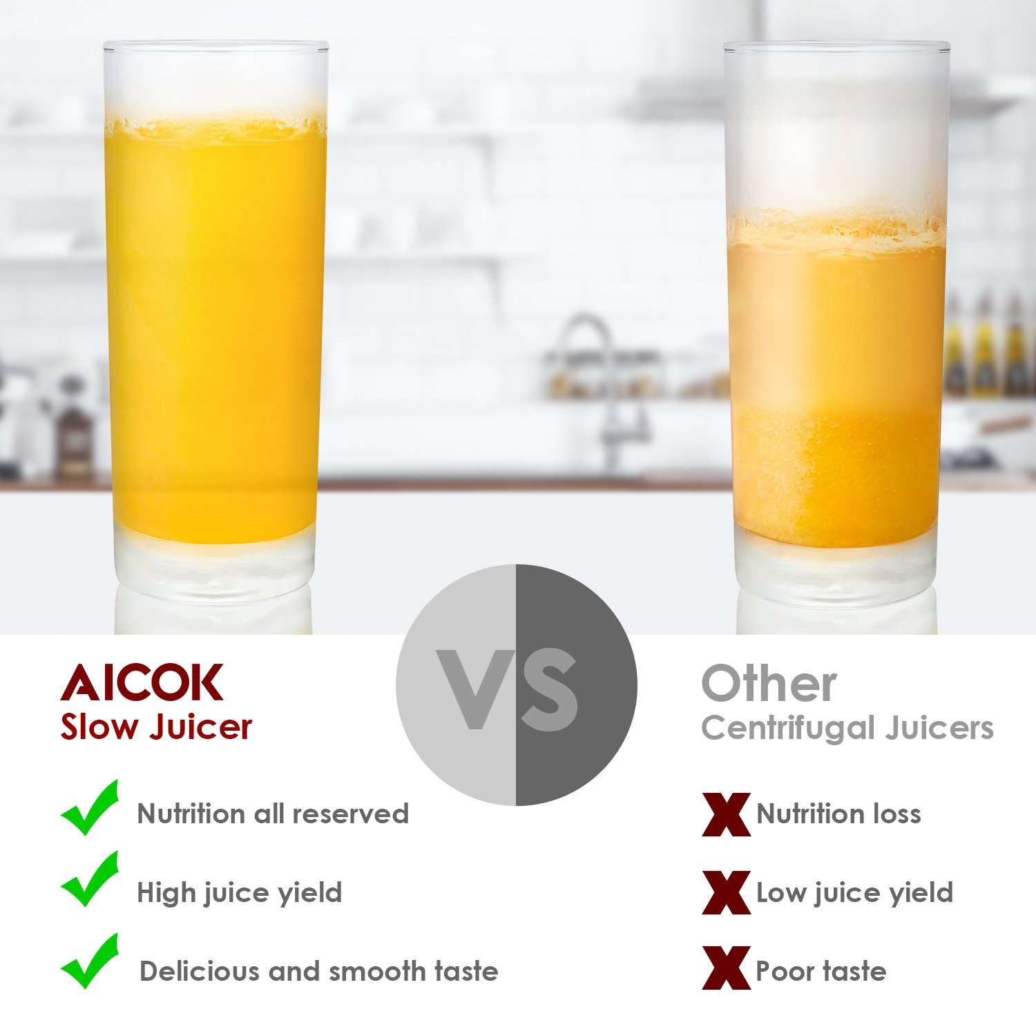 Aicok Slow Masticating juicer, Cold Press Juice Extractor, Stainless Steel, Quiet Motor, High Nutrient Fruit and Vegetable Juice, Black by AICOK (Image #6)