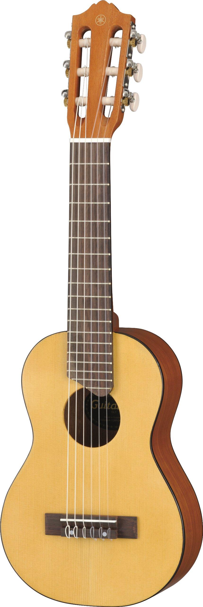 Yamaha GL1 Guitalele - Mini guitarra de madera con las dimensiones de un Ukelele, escala de 17 pulgadas, guitarra pequeña con funda incluida, 6 cuerdas de nylon, color natural product image