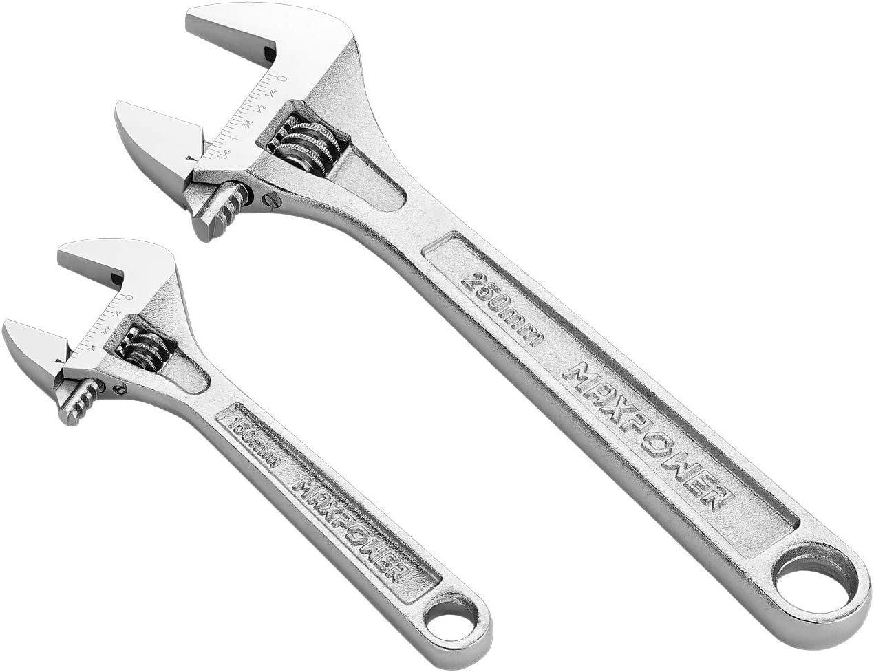 Adjustable Shifter Movable Spanners with Extra Large Jaw Capacity Metric//SAE 12-Inch Chrome Finish MAXPOWER 2PCS Heavy Duty Adjustable Wrench Set Drop Forged Cr-V Steel Includes 8-Inch