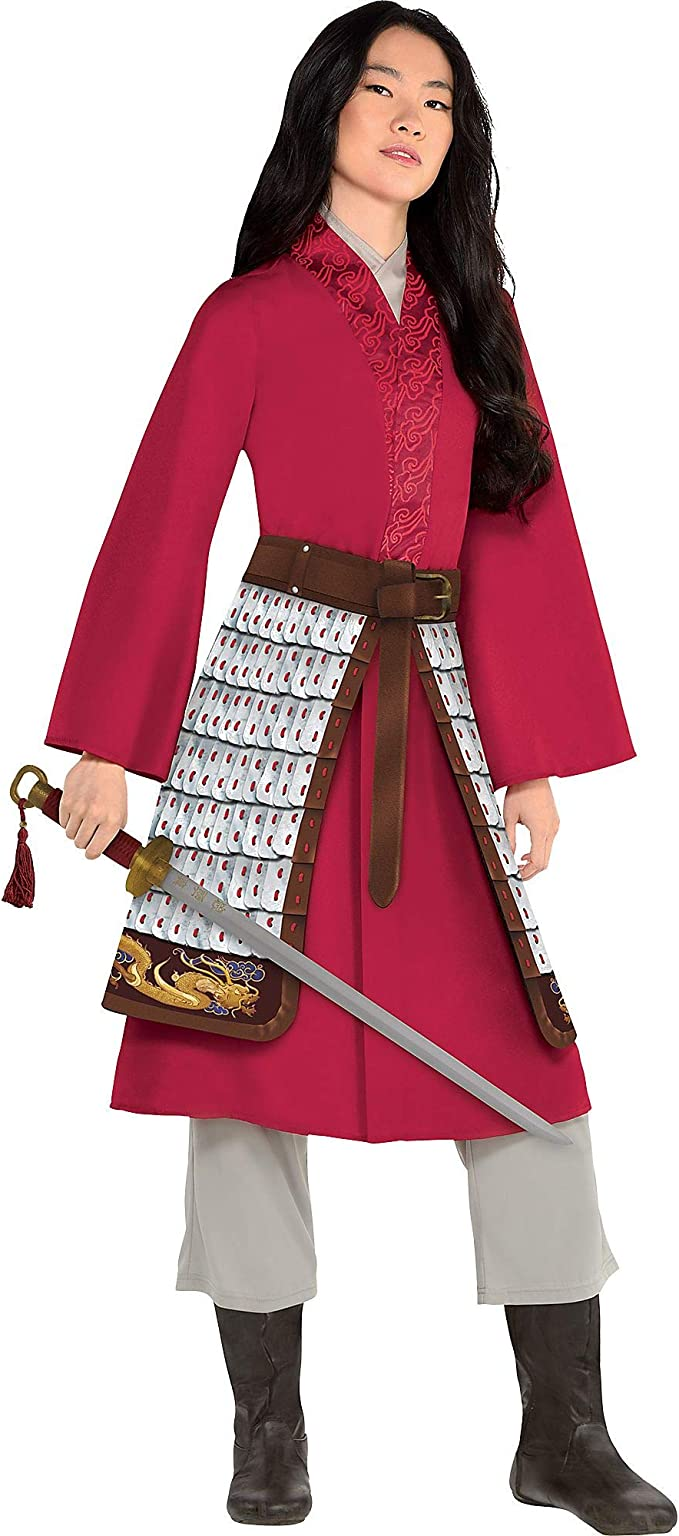 Amazon Com Party City Mulan Halloween Costume For Women Disney Includes Dress Pants And Printed Foam Armor Clothing