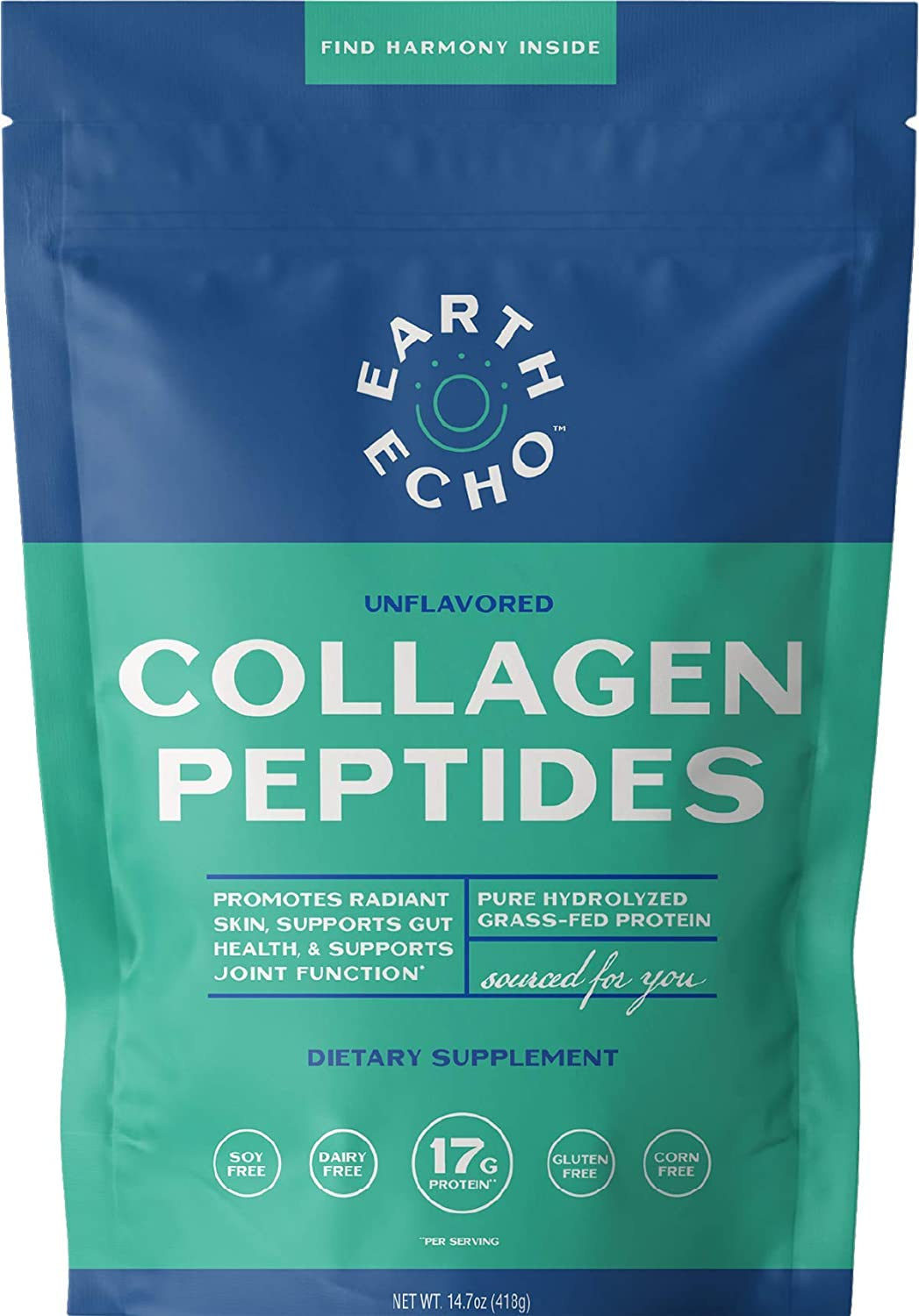 Earth Echo: Collagen Peptides - Unflavored Collagen Powder for Healthy Skin, Nails & Joints - Pure Bovine Collagen Peptide Powder with 17g Protein - Non-GMO, No Gluten, Grass-Fed - 14.7oz, 22 Servings