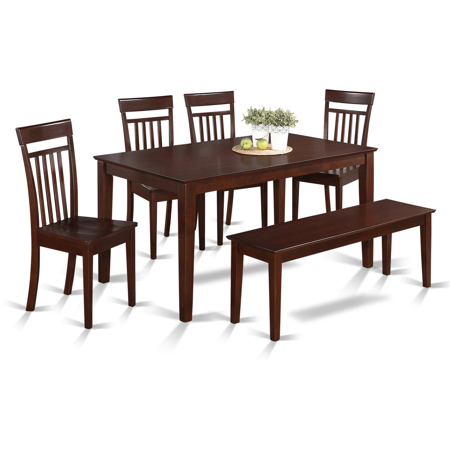 Amazon com east west furniture cap6s mah w 6 piece kitchen table set with bench wood seat mahogany finish kitchen dining