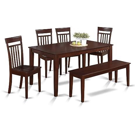 Amazon.Com: East West Furniture Cap6S-Mah-W 6-Piece Kitchen Table