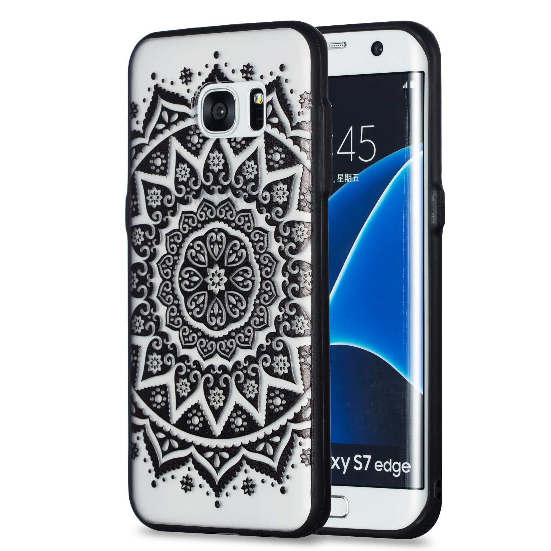Housse Etui de Premium pour Samsung Galaxy S7 Grandoin Coque Galaxy S7 Mandala Noir 2 en 1 Ultra Mince Coque Transparente Silicone Gel TPU Souple avec Cute Motif Dessin Mignon Imprim/é