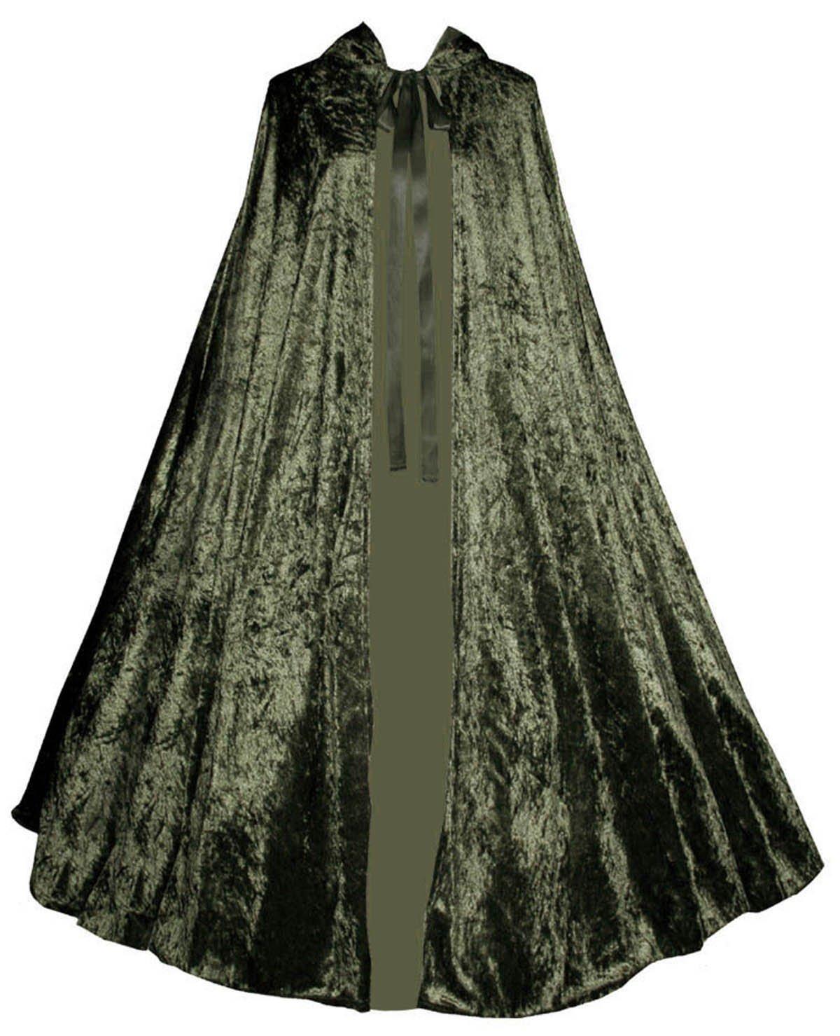 Victorian Vagabond Gothic Renaissance Steampunk Velvet Cape Cloak Olive Green 3